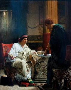 Vespasian Learns of the Taking of Jerusalem. 1866. Sir Lawrence Alma Tadema. Dutch 1836-1912. oil/panel.