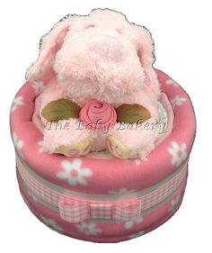 Cute Pink Puppy Single Tier Baby Girl Nappy Cake