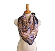 Vintage 40s Silk Scarf  Peacock Feathers by bluebutterflyvintage, $18.00
