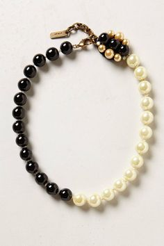Anthropologie Tourne Pearl Strand, Colorblock B&W Statement Necklace, Rada Italy #Rada #StrandString