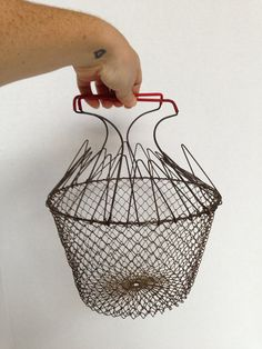 Vintage Wire Egg Basket / Collapsible with Red by OneDecember, 17.00
