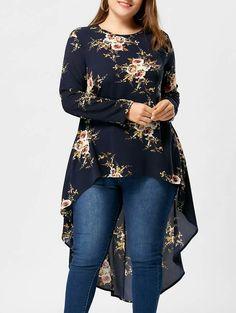 Plus Size Floral Print High Low Hem Blouse Shirt Women Long Sleeve Asymmetrical Chiffon Loose Tops Plus Size Sweaters, Plus Size Blouses, Plus Size Dresses, Plus Size Outfits, Curvy Outfits, Fashion Outfits, Fashion Trends, Fashion Ideas, Curvy Fashion