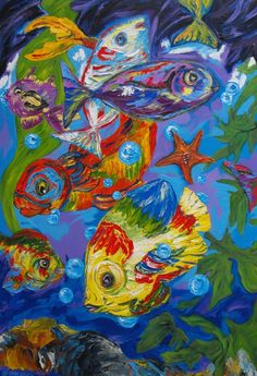 Fish, schilderij van Nelly Biessen | Abstract | Modern | Kunst