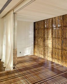 So many different ways to use bamboo for your interior design project! Bamboo Architecture, Interior Architecture, Interior And Exterior, Interior Design, Bamboo Panels, Bamboo Wall, Bamboo Curtains, Beaded Curtains, Ideas Cabaña