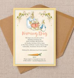Flopsy Bunnies Naming Ceremony Day Invitation. Printable PDF or professionally printed. Personlise online.