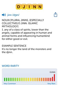 The best word I've seen today on Words with Friends is 'djinn'. Can you come up with a better one?