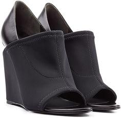 Sandales Compensées en Néoprène et Cuir