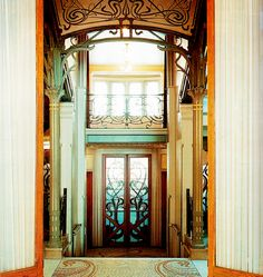 Nouveau entry at the Tessel House in Brussels by Victor Horta