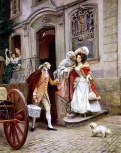 """""""Départ en voyage de noces"""" von Jules Girardet (geboren am 10. April 1856 in Versailles, gestorben im Januar 1938 in Paris), französischer Maler schweizerischer Herkunft."""