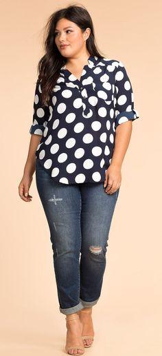 Plus Size Dot Craze Henley Top Clothing, Shoes & Jewelry - Women - Plus-Size - Wantdo - women big size clothes - http://amzn.to/2lfaYAF