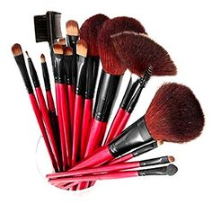 SHANY Professional 12 - Piece Natural Goat and Badger Cosmetic Brush Set  with Pouch - Red 7533d756e500c