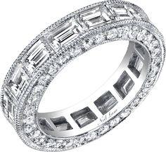 Neil Lane diamond platinum and baguette diamond band Baguette Diamond Band, Diamond Bands, Bridal Bands, Wedding Bands, Wedding Gowns, Neil Lane Jewelry, Emerald Cut Diamonds, White Diamonds, Anniversary Bands
