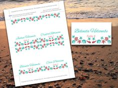 Seashell Beach Wedding Place Cards Microsoft Word Template | Sea Green Coral Teal Download Wedding Table Cards | Place Setting Escort Cards on Etsy, $10.00