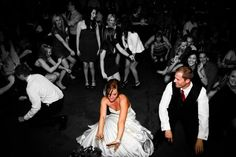 Wedding photo ideas-reception dance floor the bride and groom in color the rest of the crowd in black and white