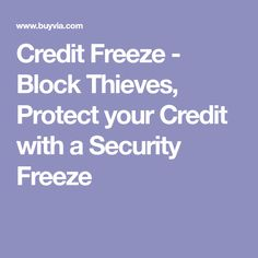 Credit Freeze - Block Thieves, Protect your Credit with a Security Freeze