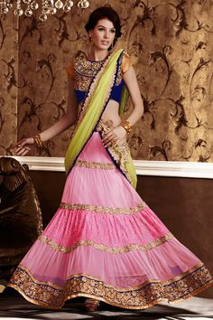 Net Pink, Green Designer Indian Lehenga Saree with Blouse