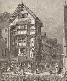 Houses lately standing on the West corner of Chancery Lane, Fleet Street. External specimen of the grotesque bracketed front and projecting stories, of the reign of Edward VI. . . . These houses were taken down by the City in May 1799 to widen Chancery Lane. . . . Drawn in August 1789. London Published as the Act Directs Jany. 14 1812, By John Thomas Smith