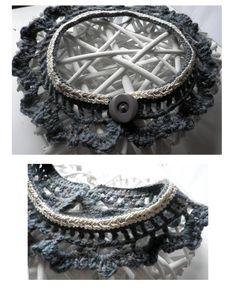 Grey crochet collar with cream lace ribbon.