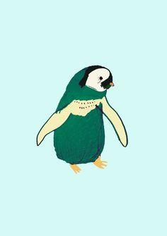 Penguin Cutey Art Print by Ashley Percival Illustrator | Society6
