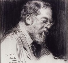 """Portrait of John Singer Sargent,"" Raymond Moreau Crosby, 1917, charcoal and graphite on laid paper, 18 3/8 x 19 1/4"", Addison Gallery of American Art."
