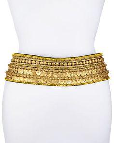 D2HGY Oscar de la Renta Golden Coin Tassel-Tie Belt