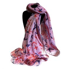 Scarves Wholesale Neat And Nautical - Ancors Away Scarf #Wholesale_Scarves #Scarves_Wholesale #Scarves_Pink #Pink_Scarves_Anchors #Scarves_Pink_Blue #Scarves_China