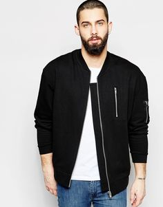 Image 1 of ASOS Oversized MA1 Bomber Jacket In Jersey With Zip Pocket In Black