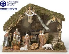 "OUR EXCLUSIVE! Fontanini 11 Piece Nativity Set with Stable Catholic Supply Exclusive! You can only find it here! 11 piece Fontanini nativity set. Features eleven 5"" Fontanini nativity figures and beautiful 11.5"" tall Italian stable. Makes the perfect gift! The figures are unbreakable, so they are perfect for new families or homes with pets. Children love to handle the figures. Features a removable Jesus from crib. Made in Italy. Gift Boxed. Nativity Scene for home Nativity from Italy…"