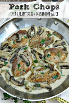 A creamy dijon and mushroom sauce make this my absolute favorite pork chops recipe! Simple to make and you can even substitute chicken for the pork!