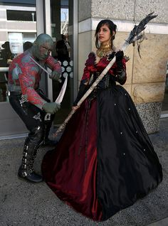 Drax as seen in the American movie Guardians of the Galaxy, with Morrigan as seen in the video game Dragon Age: Inquisition