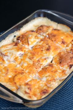 Nacho Cheese Scalloped Potatoes -- a new twist on an old favourite! Who can resist potatoes and cheese?? www.thereciperebel.com