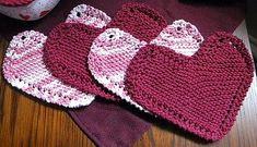 Ravelry: Grandma's Favorite Heart Shaped Dishcloth pattern by Cathy Mangaudis Dishcloth Knitting Patterns, Crochet Dishcloths, Knit Or Crochet, Loom Knitting, Free Knitting, Crochet Patterns, Yarn Projects, Knitting Projects, Crochet Projects