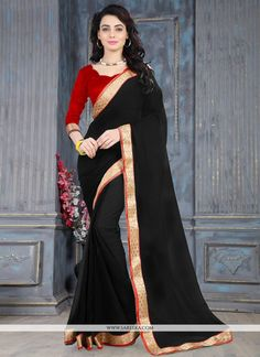 Include yourself with the glamour of a season with this elegant black weight less casual saree. Beautified with lace work all synchronized effectively with the trend and design of the dress. Comes wit...