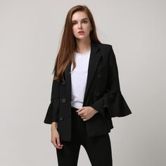 [TWOTWINSTYLE] 2017 Spring Korean Double Breasted Ruffles Flare Sleeve Blazer Women Jacket Black White Fashion Suit New