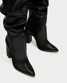 Leather High Heel Boots, High Boots, Shoe Boots, High Heels, Shoes Heels, Shoe Poster, Zara, Luxury Shoes, Color Negra