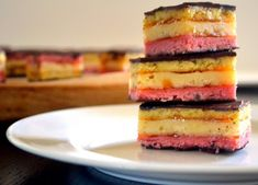 Ohh…Rainbow cookies! This takes me back to my childhood. The sweet smellof Jewish and Italian bakeries in New York, rainbow cookies were bought by the dozen by this one! However, living in Southern California, it's hard to find these colorful treats…so what better way to make it happen, than to make them yourself…easy peasy, …