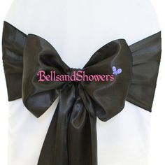 Black Satin Chair Sash Wedding, Party, Banquet Decoration