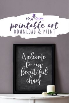 Easy Printable Rustic Chalkboard Welcome Sign Chalkboard Welcome Signs, Chalkboard Art, Fun Christmas Photos, Red Abstract Art, Mermaid Invitations, Family Signs, Home Wall Decor, Decorating On A Budget, Printable Art
