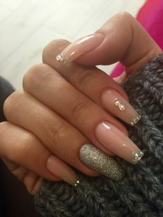 Winter festive nude sparkling coffin shaped nails