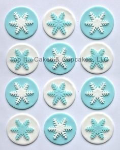 Fondant Cupcake Toppers  Snowflakes by TopItCupcakes on Etsy, $16.99