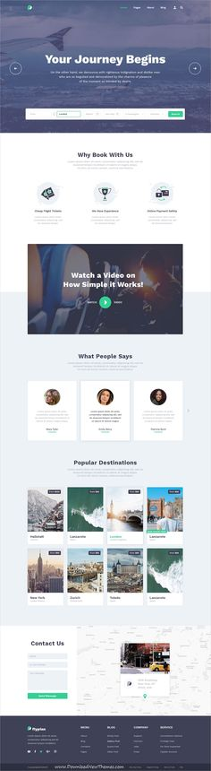 FlyPlan is clean and modern design #PSD template for air #ticket #booking system #website with 15 layered PSD pages to live preview & download click on Visit 👆