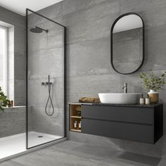 Like grey wall tiles with black vanity and shower screen with black frame Washroom Design, Toilet Design, Bathroom Design Luxury, Modern Bathroom Design, Contemporary Bathrooms, Grey Bathroom Tiles, Bathroom Layout, Bathroom Ideas, Light Grey Bathrooms
