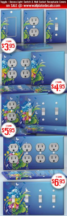 DIY Do It Yourself Home Decor - Easy to apply wall plate wraps | Far Away  Butterfly silhouettes and retro flowers  wallplate skin stickers for single, double, triple and quadruple Toggle and Decora Light Switches, Wall Socket Duplex Receptacles, and blank decals without inside cuts for special outlets | On SALE now only $3.95 - $6.95