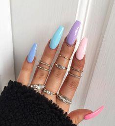 41 nail designs and ideas for coffin acrylic nails 7 Simple Acrylic Nails, Best Acrylic Nails, Pastel Nails, Acrylic Nail Designs, Acrylic Summer Nails Beach, Colourful Acrylic Nails, Summer Nails Neon, Colorful Nail Art, Long Nail Designs