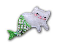 Meowmaid Mermaid Kitty Felt Brooch by TheAlbinoHare on Etsy, $16.00 / for my sister