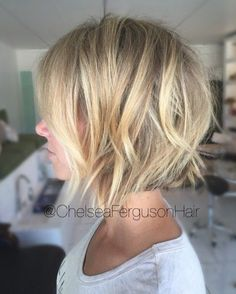 Choppy Bob with Blonde Highlights
