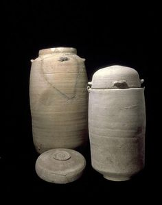 Some of the Dead Sea Scrolls were hidden in jars like these, which were later found in the excavation of Qumran. This type of pottery is unknown elsewhere: since it was found in the caves where the scrolls were hidden, and in the Qumran ruins, many believe it is conclusive proof that the scrolls were written in Qumran.