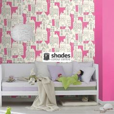 503463 - Kids & Teens II House Drawings White Pink Black Galerie Wallpaper | eBay