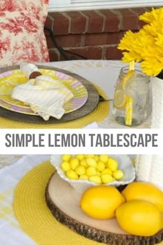 We created this Simple Lemon Tablescape for a late summer romantic soiree for two. My table decorations are simple and Mason Jars were perfect for our lemon infused water. Yes, those are Melamine dishes! Romantic Table, Romantic Dinners, Mason Jar Meals, Mason Jars, Lemon Infused Water, Yellow Tablecloth, Diy Store, Halloween Home Decor, Diy Garden Decor