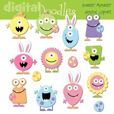 Easter Monsters digital clip art.  even though there is a price the artist allows you to copy image to windows  word or where ever and lets you print
